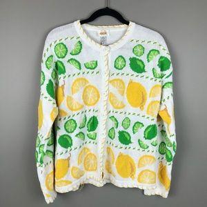 Talbots Lemon and Lime knit sweater cardigan